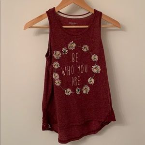 Xhilaration Be Who You Are maroon flower tank top